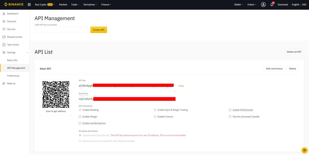 New API Key for Atani