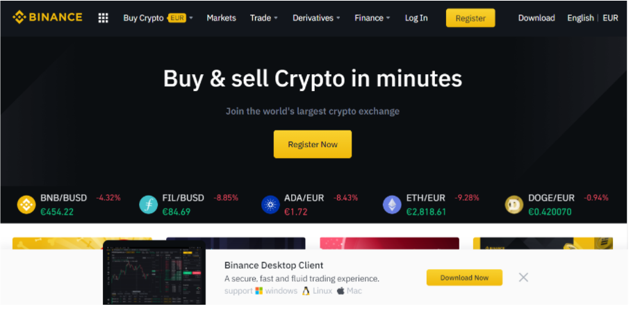 Binance web page official