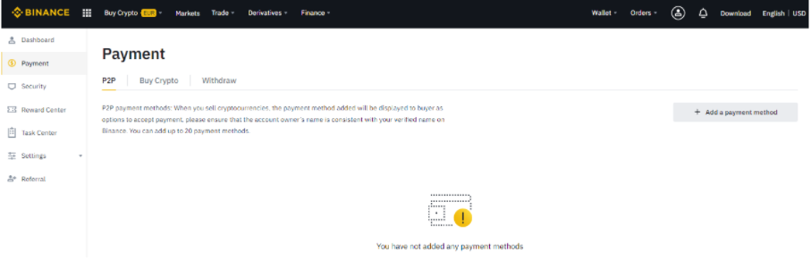 Payment control in Binance