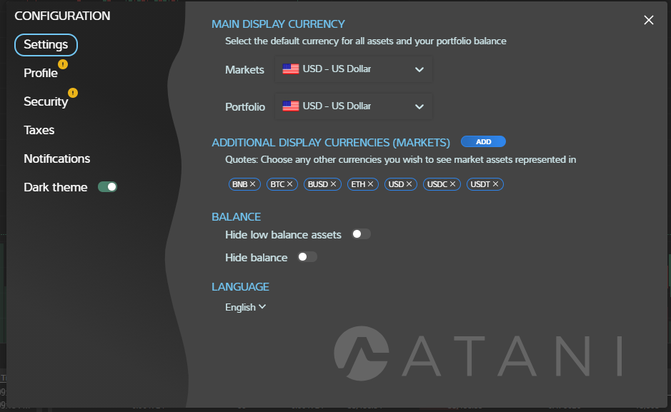 Configuring Atani trading application