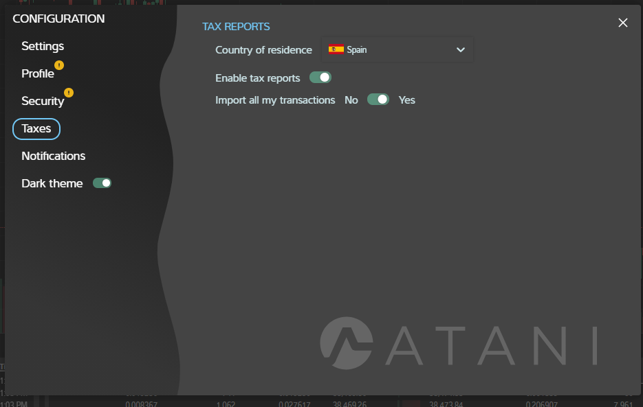 Configuring Taxes in Atani trading application