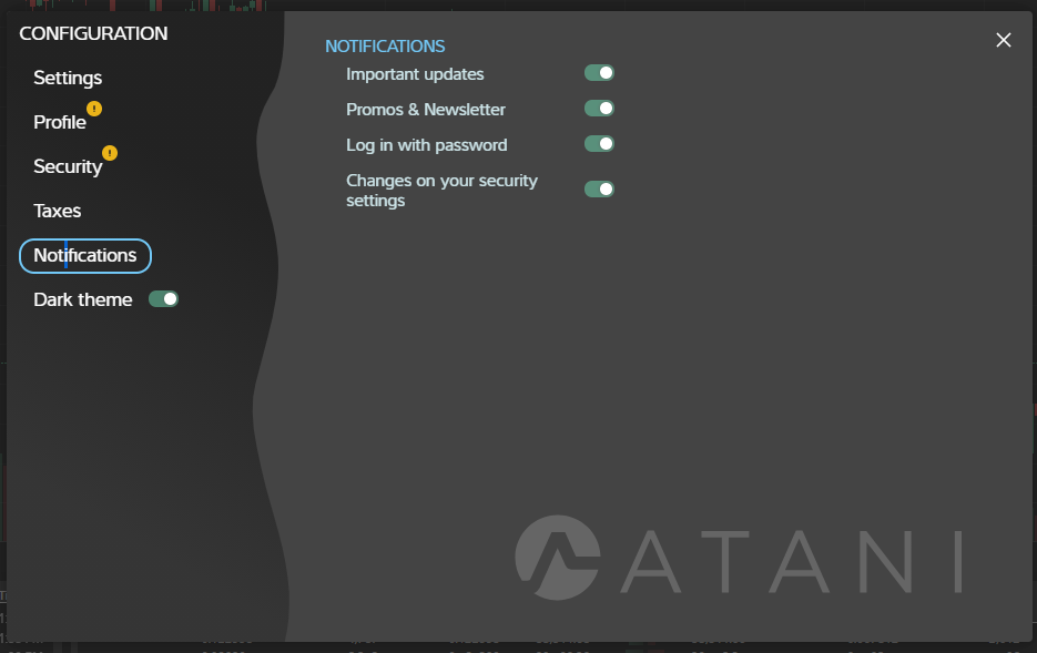 Configuring Notifications in Atani trading application