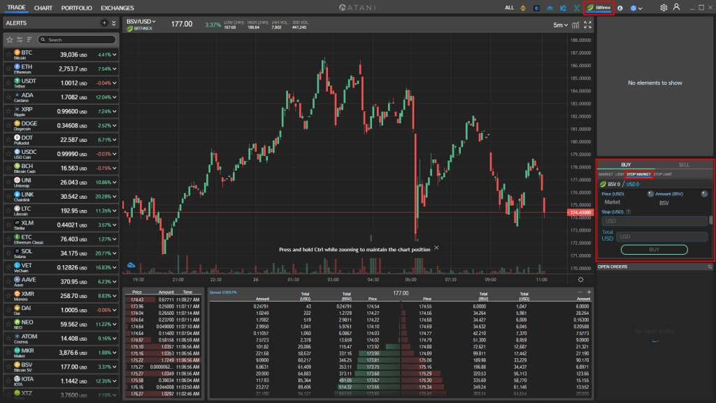 Stop Loss Market Order in Atani using Bitfinex exchange